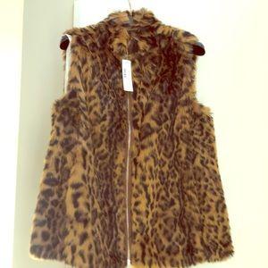 JCrew faux fur leopard vest NEW!